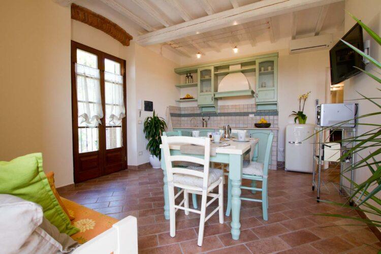 Zona giorno con terrazza in Toscana