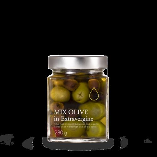 Olive miste verdi e nere condite in olio extravergine